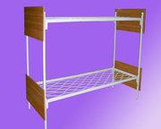 Двухъярусные металлические кровати с ДСП спинками для гостиниц,  дешево